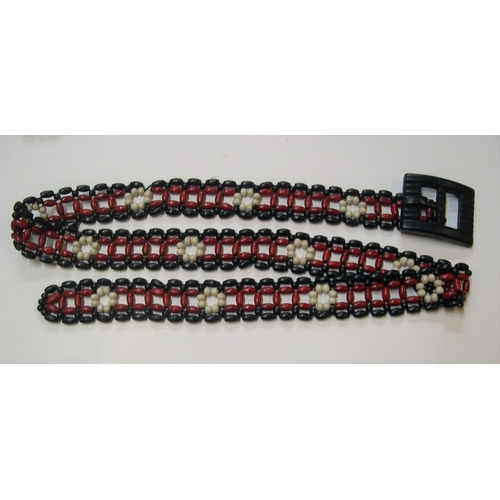 21 - Vintage beaded ladies 1960s belts (2) and long beaded necklace...