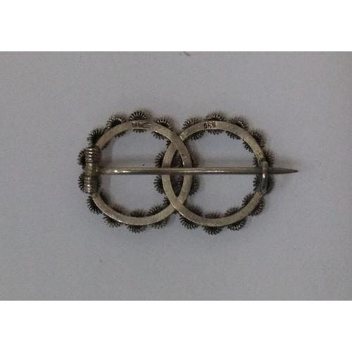 35 - Magnus Aase of Bergen, Norway vintage modernist silver enamel brooch