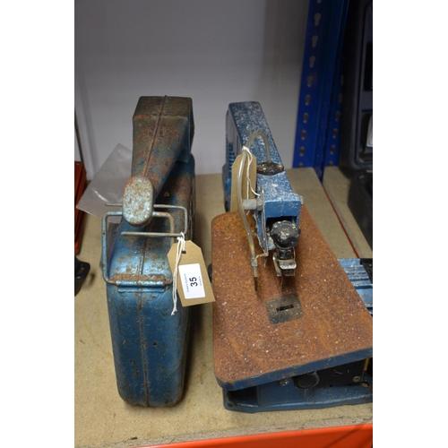35 - Clarke scroll saw (working order) + vintage petrol can...