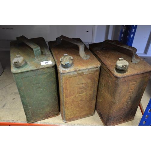39 - 3 Vintage petrol cans (2 BP 1 Pratts)...
