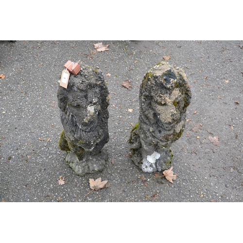 1 - Pair of stoic lion garden ornaments, height 67cm...