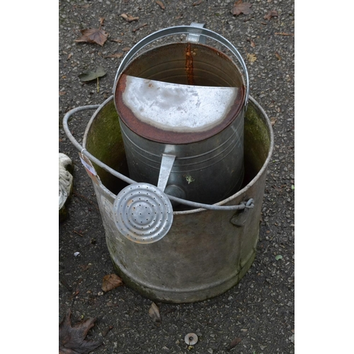 16 - Galvanised watering can & large bucket...