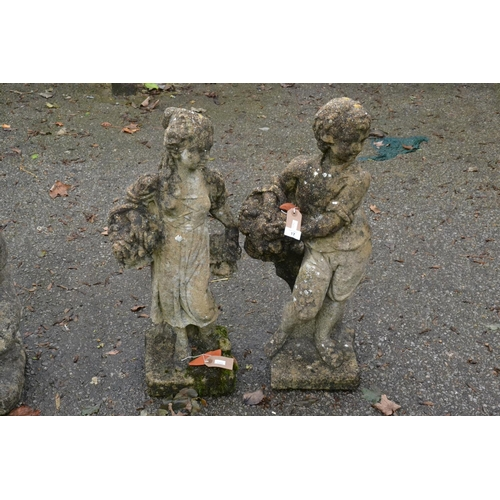 17 - Flower girl & boy garden ornaments, height 75cm...