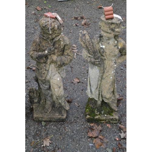 21 - Boy & girl harvest workers garden ornaments. 75cm...