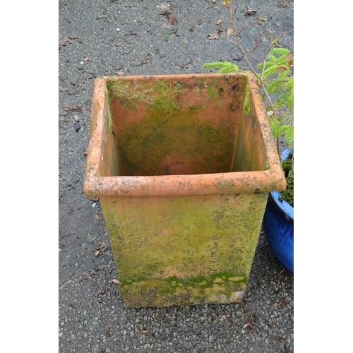 6 - Large square terracotta pot...