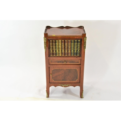 21 - Small cupboard with faux book frontage,  over drawer over cupboard, h69cm x w38cm x d28cm...