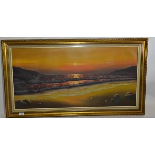 14 - Large framed oil on canvas of a sunset on a beach scene....