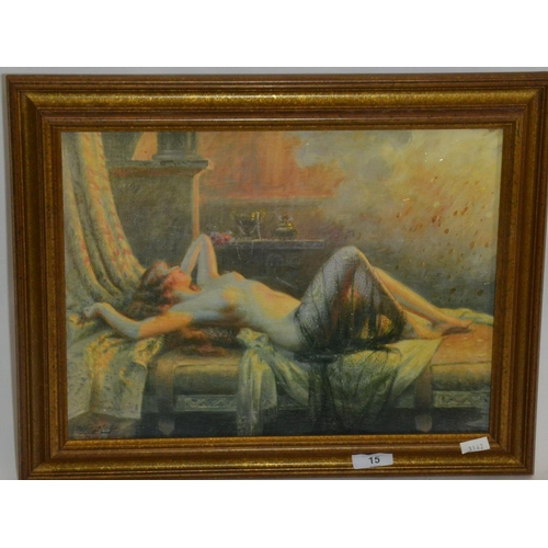 15 - Oleograph of nude in repose...