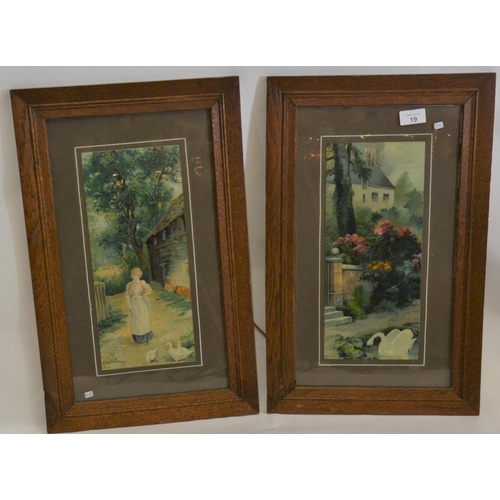 19 - Pair of early C20 coloured chromolithographs in oak frames...