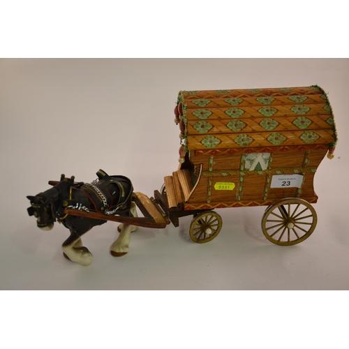 23 - Ceramic plough horse pulling gypsy wagon...