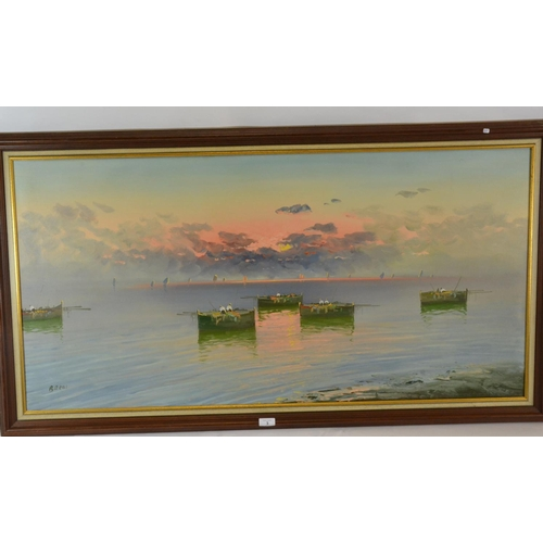 3 - Large framed oil painting by Gustavo Bardi, of a sun set, signed bottom left...