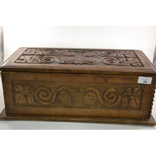 30 - Small carved oak coffer, 47cm wide...