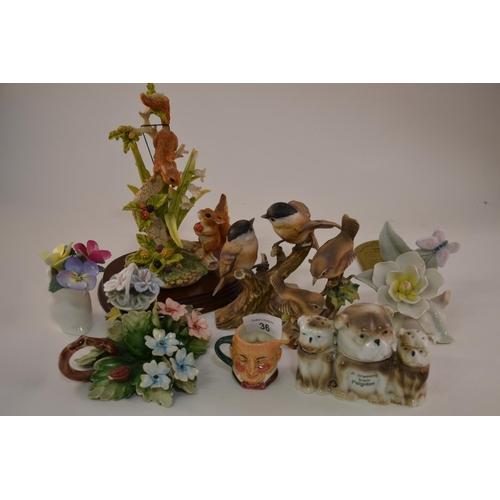 36 - Various bird figurines...
