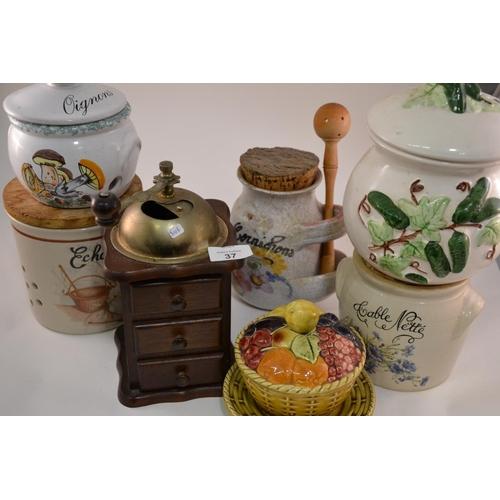 37 - Various vintage ceramic pots, coffee grinder...