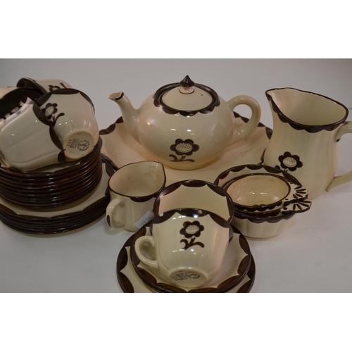 50 - Gustavsberg pyro Swedish tea set, with brown floral decoration...