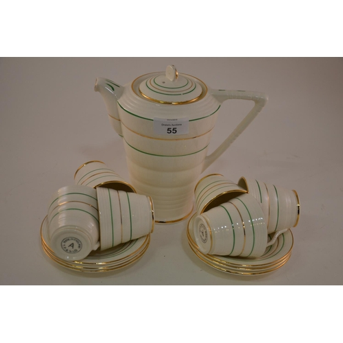 55 - Gilt & green banded Art Deco style coffee set...