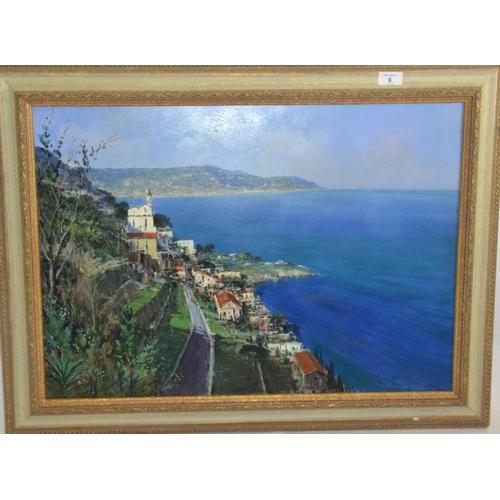 6 - Oil on board of the Amalfi Coast by Andrea Patrisi (1954-)...