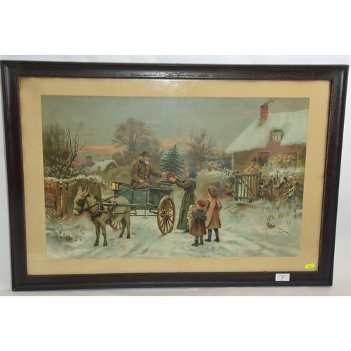 7 - Early C20 chromolithograph of a wintry scene...