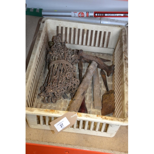 27 - Small box of assorted metal ware inc. panel beating hammer...