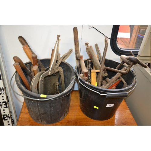 39 - Quantity of tools over 2 buckets inc files and hammers...