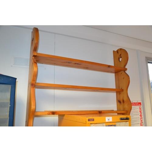45 - Pine 3 tier wall hanging shelf...