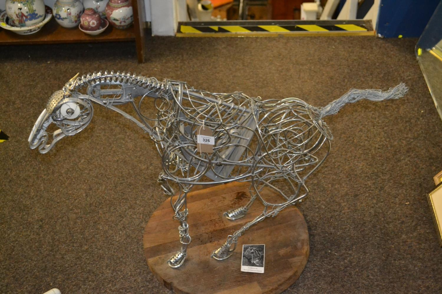 Recycled Metal Horse Sculpture On Wooden Base By Richard Dawson Hewitt
