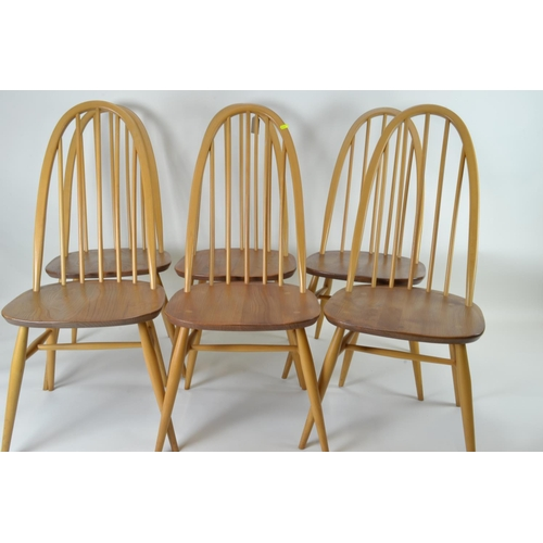 31a - Set of 6 Ercol 365 Quaker chairs, in beech & elm. Includes pop tops....