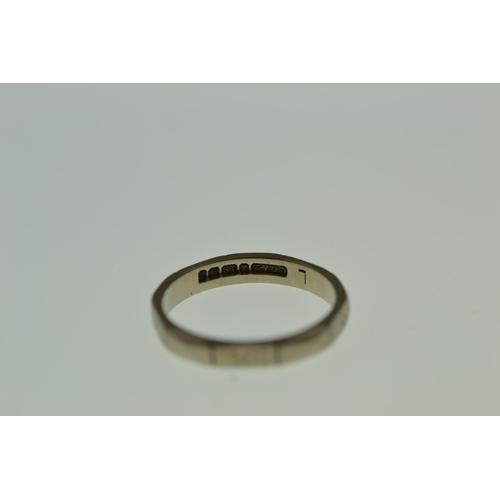 262 - 18ct white gold band, 2.96 grams, size L1/2...
