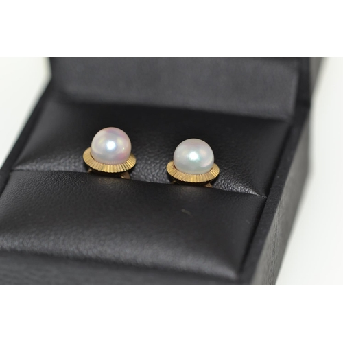 272 - Pair of 9ct gold & pearl ear studs, gross weight 1.4 grams...