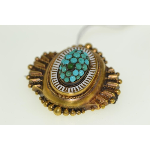 284 - Yellow metal & turquoise pendant/brooch, tests positive for 18ct gold, 38cm length, 7.28 grams...