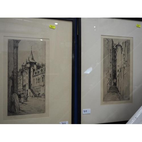 511 - 2 framed etchings of street scenes signed J.S.C.Simpson...