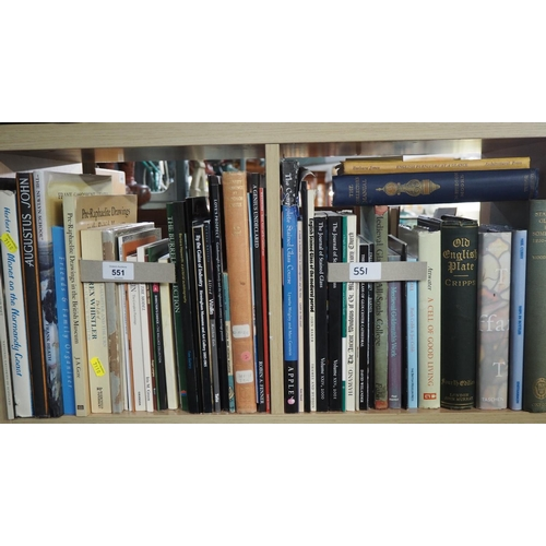 551 - 2 shelves of numerous books mostly on art, Stained glass, Antiques etc....