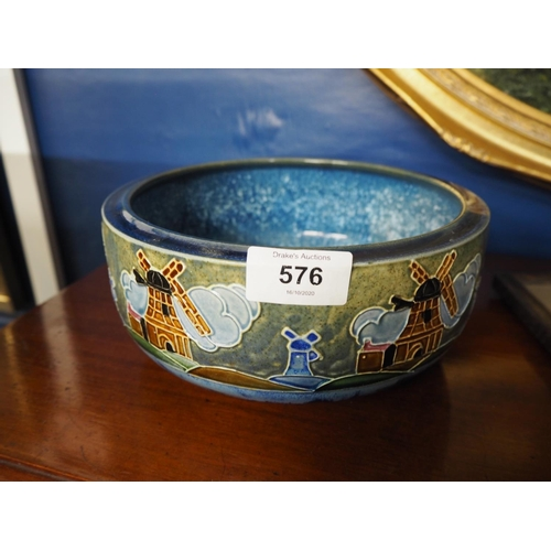 576 - Denby Ware bowl decorated with windmills. Diameter 21 CM....
