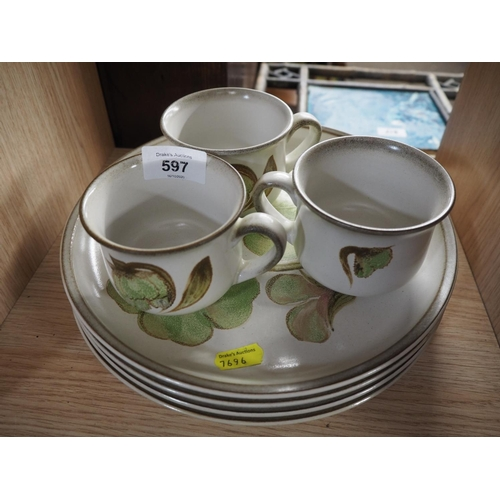 597 - Denby part service inc x3 cups & x4 plates...