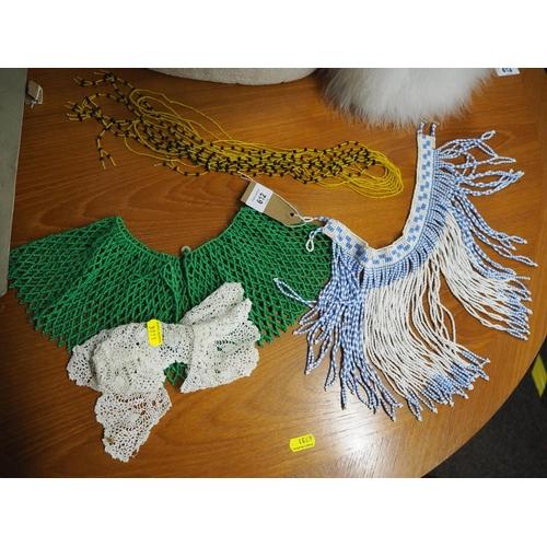 612 - Lace & beadwork collars & a bead belt...