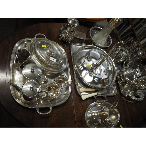 615 - Large quantity of silver plated wares, including teawares, trays etc....