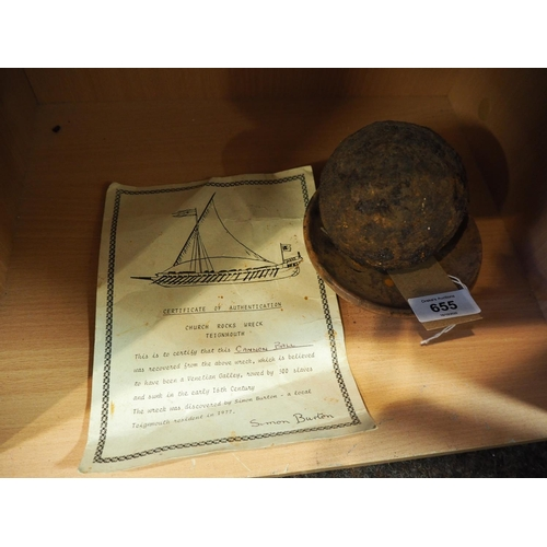 655 - Canon ball recovered from the wreck of the C16 Venetian Galley with certificate of authentication...