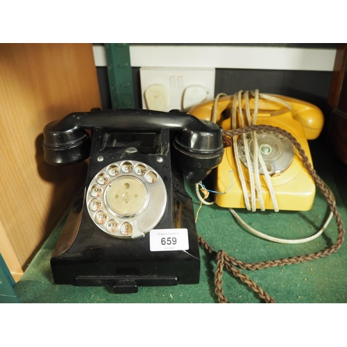659 - Two vintage rotary telephones...
