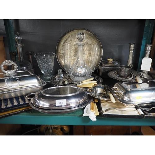 660 - Shelf of silver plate inc. flatware & tureens inc. some glassware....