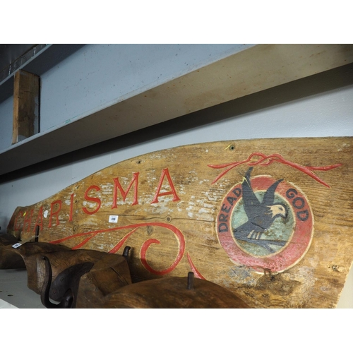699 - Large boat rudder decorated charisma. Length 163 CM....