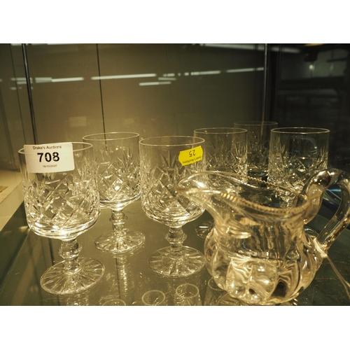 708 - 6 crystal glasses &  C19 cream jug...