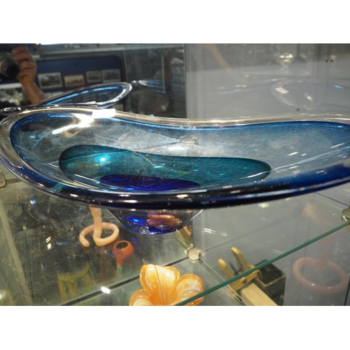 709 - Large colourful Teign Valley glass dish. Length 52 CM....