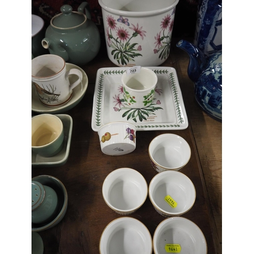 723 - Portmeirion botanic gardens planter, square dish and 1 other + 6 Royal Worcester Evesham ware rameki...