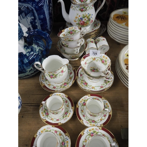 725 - Shelley Dubarry tea service + Espresso cups and saucers...