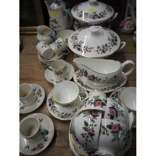735 - Qty of Wedgewood ceramics floral decorated, Hathaway rose pattern and Brecon pattern...