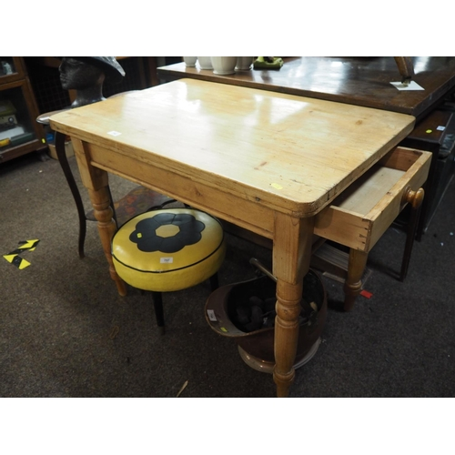 756 - Strip pine kitchen table with end drawer. Width 89 CM. Depth 59 CM....