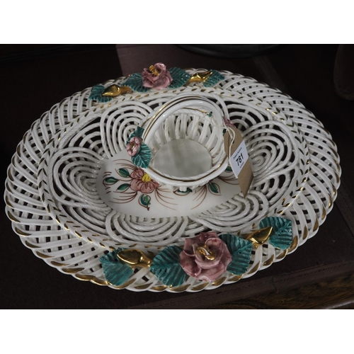 781 - Continental woven porcelain dish and small basket...