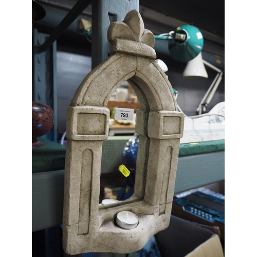793 - Reconstituted stone tealight holder mirror, 41cm high...