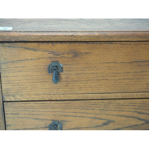 14 - Low oak 2 drawer chest on raised. Width 92 CM. Depth 43 CM. Height 70 CM....