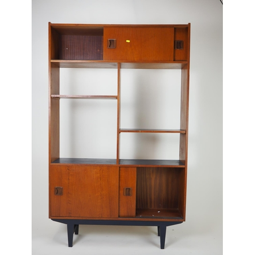 3 - Danish teak style room dividing unit with blue painted shelves. Height 173 CM. Width 107 CM. Depth 2...